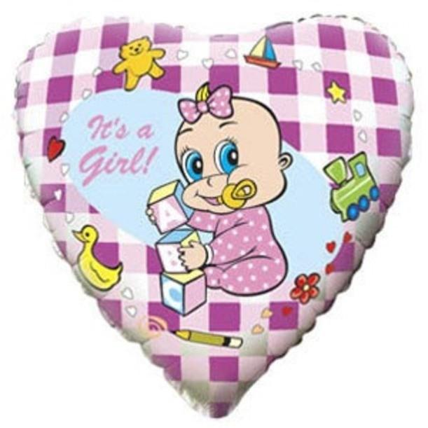 Сердце фольгированное Младенец девочка
