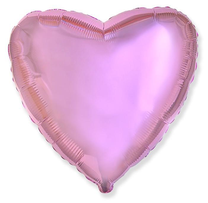 Фольгированное сердце металлик розовый