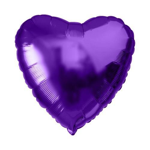 Фольгированное сердце металлик сиреневый