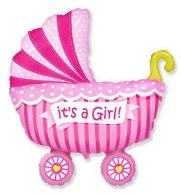 Фольгированная коляска детская розовая