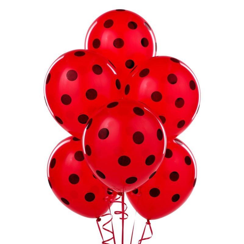 Воздушный шарик красный в черный горошек