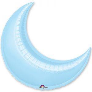 Фольгированный большой месяц голубой