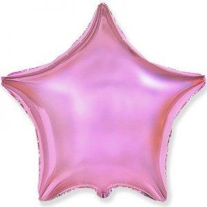 Фольгированная звезда розовый металлик