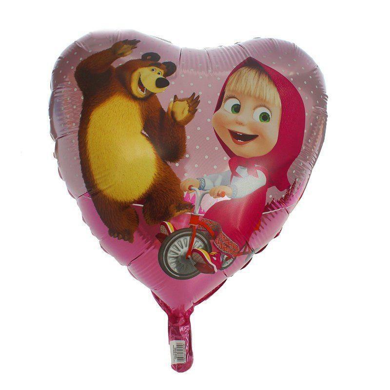 Маша и медведь в фольгированном сердце