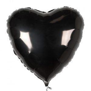 Сердце металлик черное