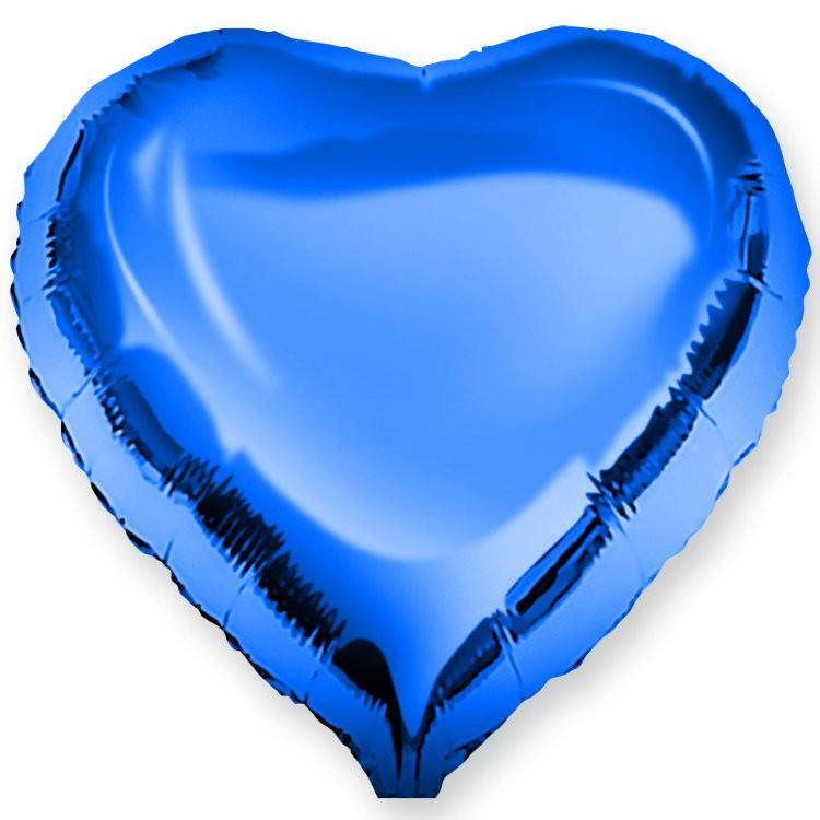 Сердце металлик синее