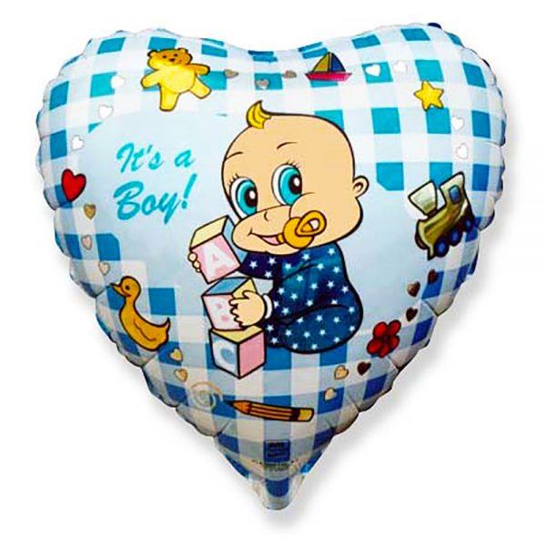 Фольгированное сердце Младенец мальчик