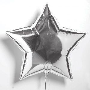 Звезда большая металлик серебро
