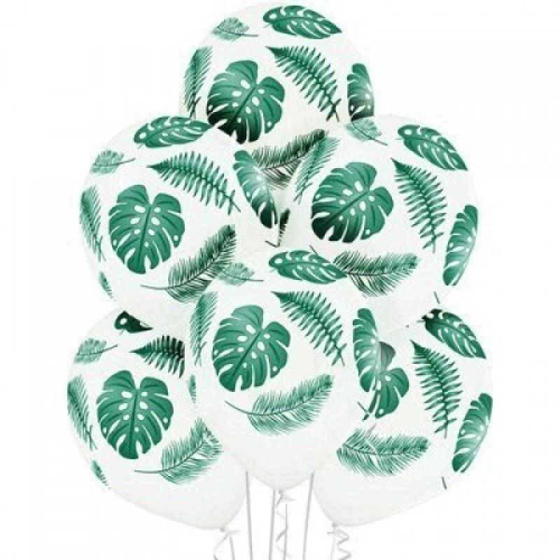 Шарик с гелием 14″ Листья тропические